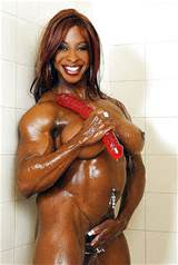 Muscle black female naked in gym