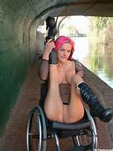 Wheelchair pornstar Leah Caprice flashing nude in public and busty ...